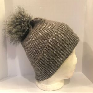 Accessories - Gray and Silver Stocking Hat with Faux Fur Pom